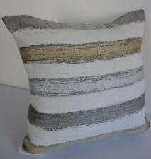 Scandi Design Silver Grey Pale Gold Brushstrokes Textured Cushion Cover 45cm