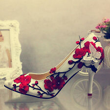 Stylish Ladies Flower Embroider Buterfly Pointed Toe Wedding Shoes Pumps Sz Chic