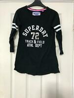 Superdry Black T Shirt Size Small Womens Long Sleeve Great Condition (D717)