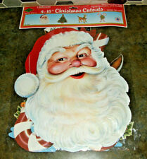 """Vintage Beistle Christmas Cut-Outs Sealed 4 Pack 16"""" Die Cut Decorations 2-Sided"""