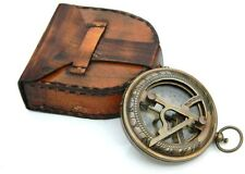 "Antique Nautical 3"" Brass Push Button Sundial Compass W Leather Cover Replica"