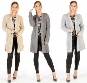 LONG SLEEVE OPEN FRONT KNITTED LADIES WOMENS CARDIGAN 2 POCKETS SIZE 8-16