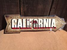 """California State Flag This Way To Arrow Sign Directional Novelty Metal 17"""" x 5"""""""