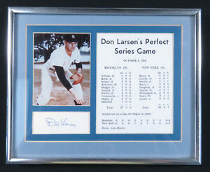 Don Larsen New York Yankees 1956 Perfect Game Autographed Signed 3x5 Card Framed