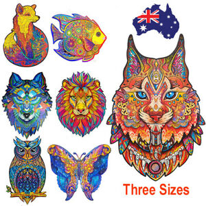 Wooden Jigsaw Puzzles Unique Animal Shape Pieces Adult Kids Toys Gift Home Decor