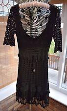 KAREN MILLEN Black Crochet Hippy Boho Dress Size 1 in VGC