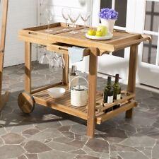 Safavieh Outdoor Orland Teak Look Tea Trolly Beverage Drink Cart PAT7010A