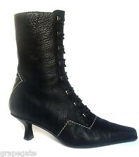 Stuart Weitzman, VICTORIAN STYLE BLACK LEATHER BOOTS,French Heel,Side Zipper, 6M