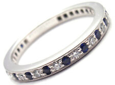 Authentic! Tiffany & Co Legacy Platinum Diamond Sapphire Band Ring Size 5.25