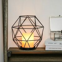 20cm Battery Power LED Wax Candle Cage Lantern Terrarium Light | Home Lamp