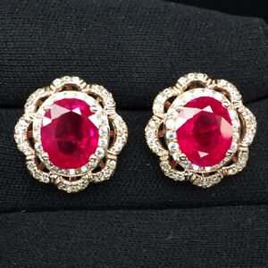RUBY BLOOD RED OVAL 11 CT. SAPP 925 STERLING SILVER ROSE GOLD EARRINGS JEWELRY