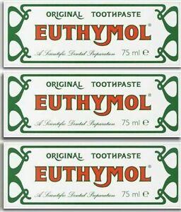 3 x Euthymol Original Toothpaste 75ml tubes