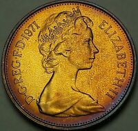 1971 Great Britain Ten New Pence BU BRIGHT GORGEOUS COLOR TONED GEM UNC (SS)