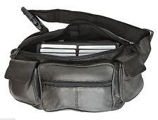 Black Premium DLX 2 Phone Leather Fanny Pack Waist Bag Travel Organizer Sac 405