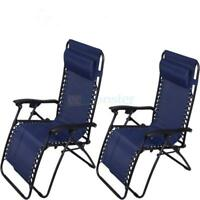 Zero Gravity Chairs Case Of (2) Blue Lounge Patio Chair Outdoor Yard Beach Pool
