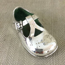 Vintage Shoe Ornament Sculpture Silver Plated Baby Childs Christening Gift