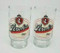 "Set of 2 Rare Vintage Stroh's Bohemian Style Beer Glasses (5"" Tall)  Man Cave"