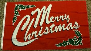 new RED MERRY CHRISTMAS 3x5ft FLAG superior premium quality US seller
