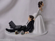 Wedding Reception Beer Can Laptop Computer Drunk Geek Cake Topper Both Dark Hair