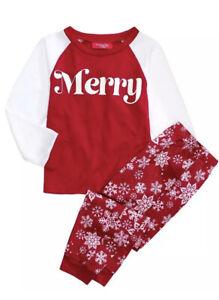 Family PJs Kids Merry Long Sleeve Top Sleepwear Holiday Size 2T-3T RV $24