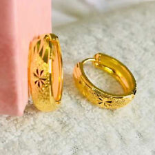 New Hoop Earrings Vintage Clover Carve Women 24k Yellow Gold Filled Jewelry Gift