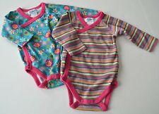 2 Baby Girls ZUTANO Sz 6m Stripe Floral l/s Crisscross One Piece Romper Bodysuit