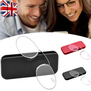 Mini Clip Nose Reading Glasses Wallet Pocket Unisex Ultra Thin With Case UK