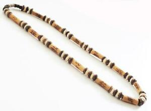 """8mm Brown Coco Wood & Long Bamboo Tube Beads Necklace Men's Surfer Choker 19"""""""