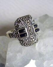 Ring mit Markasit und Onyx, 925er Silber, Gr 17,8 - Gothic -