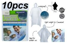 10 x Disposable Emergency Poncho Transparent/Clear Adult Raincoat 100% Brand New