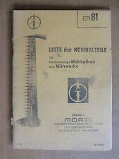 Ersatzteilliste Normalteile MÖRTL Mähwerk Mähbalken Zylinder Rasant Florett 1979