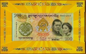 Bhutan,  100 Ngultum, 2011, Royal Wedding Commemorative, Folder, UNC