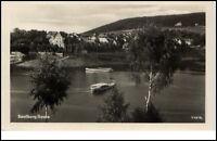 Saalburg Saale Thüringen DDR Postkarte 1954 See Boote Teilansicht Bäume