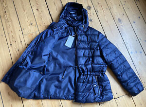 *BNWT* M&S STORMWEAR navy padded jacket UK 20 £45 foldaway hood drawstring waist
