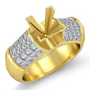 1.70Ct Princess VS1 F Accents Diamond Engagement Ring Setting 14k Gold Yellow