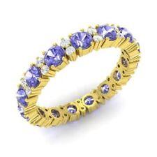 1.95 Ct Diamond Tanzanite Wedding Eternity Band 14K Solid Yellow Gold Ring Size