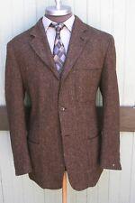 Polo Ralph Lauren Wool Tweed Brown Herringbone Three Button Field Jacket SZ 45XL