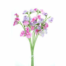 Artificial silk Sweetpea pink & lilac stems Sweet Pea flowers 16 inches