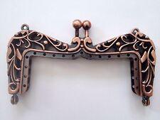 New Antique Rose Copper Purse Bag DIY Metal Arch Frame Kiss Clasp Lock Lace