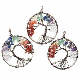 "3x Copper Tree of Life Chakra Pendant Charm Women Jewelry Making Necklace 2"""