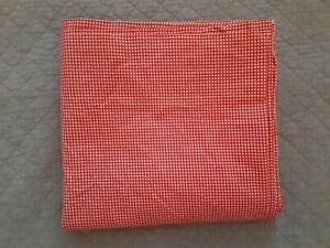 Ralph Lauren RED & WHITE CHECK Gingham KING Flat Sheet With Flaw