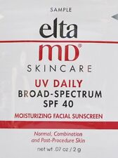 EltaMD UV Daily Broad-Spectrum SPF 40 Untinted10x samples 0.07oz each EXP 6/2020