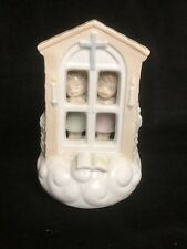"Roman Porcelain 2 Little Angels Behind Window Rotating Music Box ""Amazing Grace"""