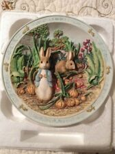 "Beatrix Potter "" A Pocketful Of onions"" 3D Peter Rabbit Musical Plate Bradford"