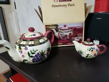 Oneida Kitchen Strawberry Plaid Teapot and Creamer