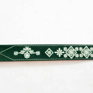 Gap Velvet Green Leather Belt Youth Size L XL Embroidered  Holiday