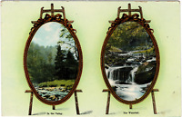VINTAGE VALLEY & WATERFALL SCENES in OVAL SHAPED FRAMES on EASELS POSTCARD