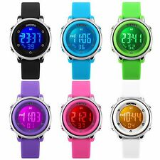 Child Girl Boys Kids Waterproof Alarm Sport Electronic LED Digital Wrist Watch