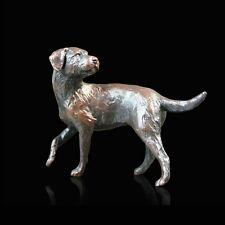 Small Border Terrier Solid Bronze Foundry Cast Sculpture Michael Simpson (822)