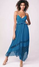 NEW *Next* (size Uk 12 Tall) Bright Teal Pleated Lace Asymmetric Strappy Dress.